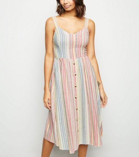 9165c0319af ... White Stripe Linen Blend Button Midi Dress ...