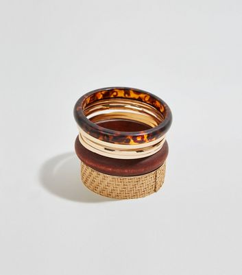 6 Pack Brown Woven Raffia and Wood Bangles