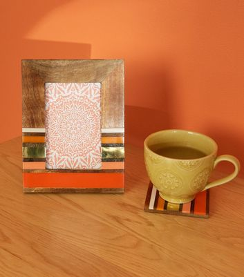 Orange Wood Colour Block 6x4 Photo Frame