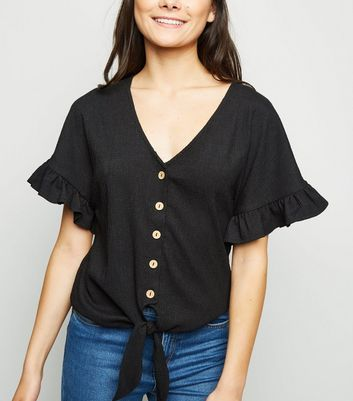 Black Textured Tie Front Top