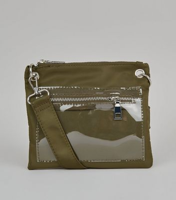 Khaki Clear Pocket High Shine Cross Body Bag