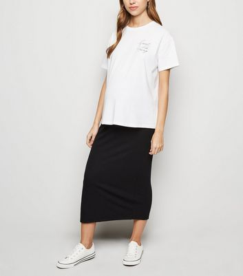 Maternity Black Ribbed Pencil Skirt