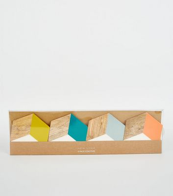 4 Pack Multicoloured Wood Hexagon Coasters