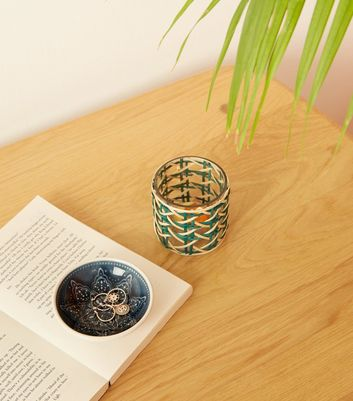 Blue Woven Bamboo Candle Holder
