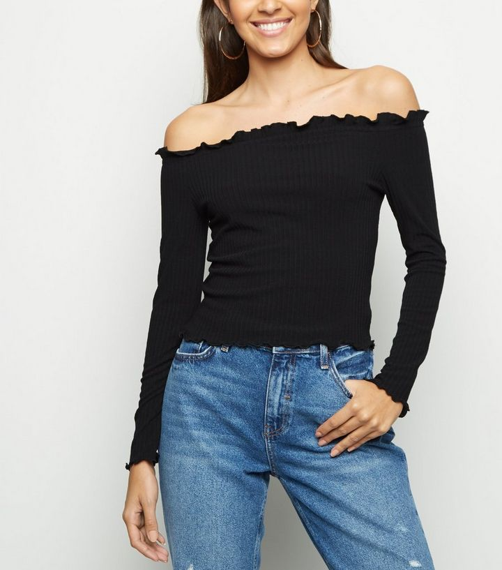 915cc4cc4c1bef Black Long Sleeve Frill Bardot Top