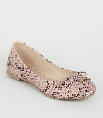 Pink Faux Snake Bow Ballet Pumps