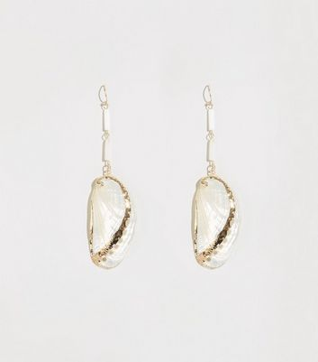 White Asymmetric Shell Drop Earrings