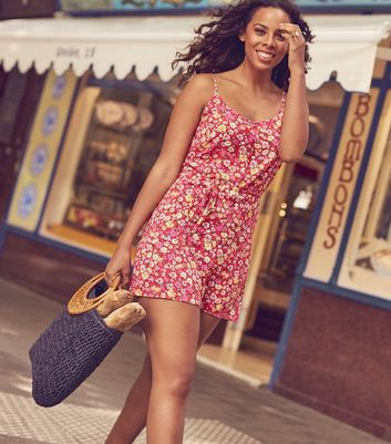 Red Floral Print Tie Waist Playsuit