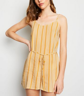 Yellow Stripe Belted Playsuit