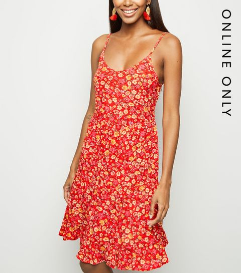 c01152ac033 ... Red Floral Crinkled Tiered Sun Dress ...
