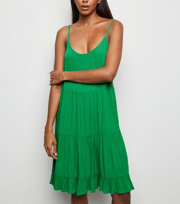 Green Tiered Crepe Sundress