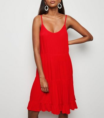 Red Tiered Crepe Sundress