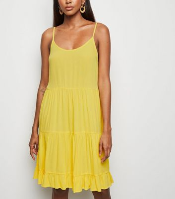 Yellow Tiered Crepe Sundress