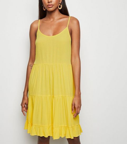 2ce15adfc6 Yellow Tiered Crepe Sundress · Yellow Tiered Crepe Sundress ...