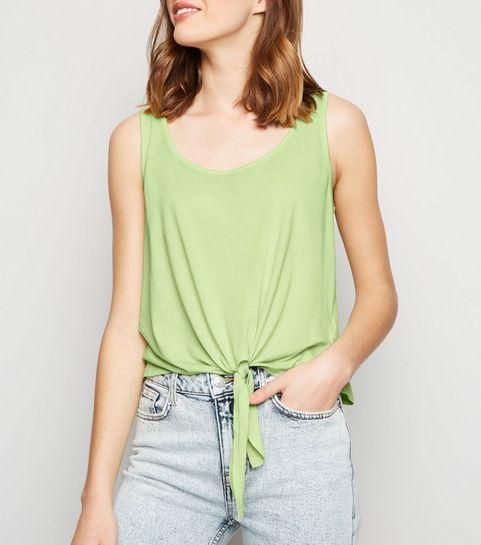 fac89de470bad ... Light Green Neon Tie Front Vest ...