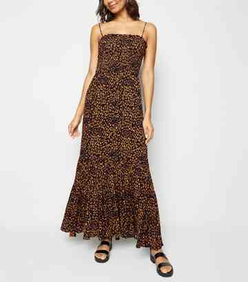 Navy Leopard Print Shirred Tier Maxi Dress