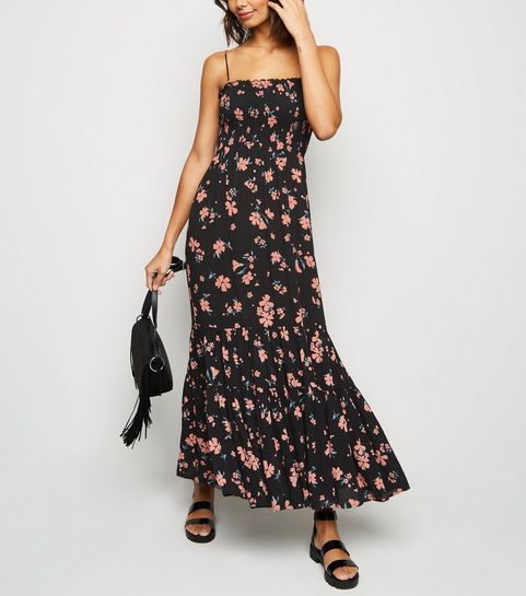 948c9172a3da1 ... Black Daisy Shirred Tier Maxi Dress ...