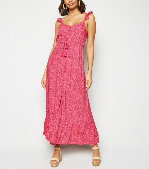 979d88b5bd0 ... Pink Floral Button Up Frill Maxi Dress ...