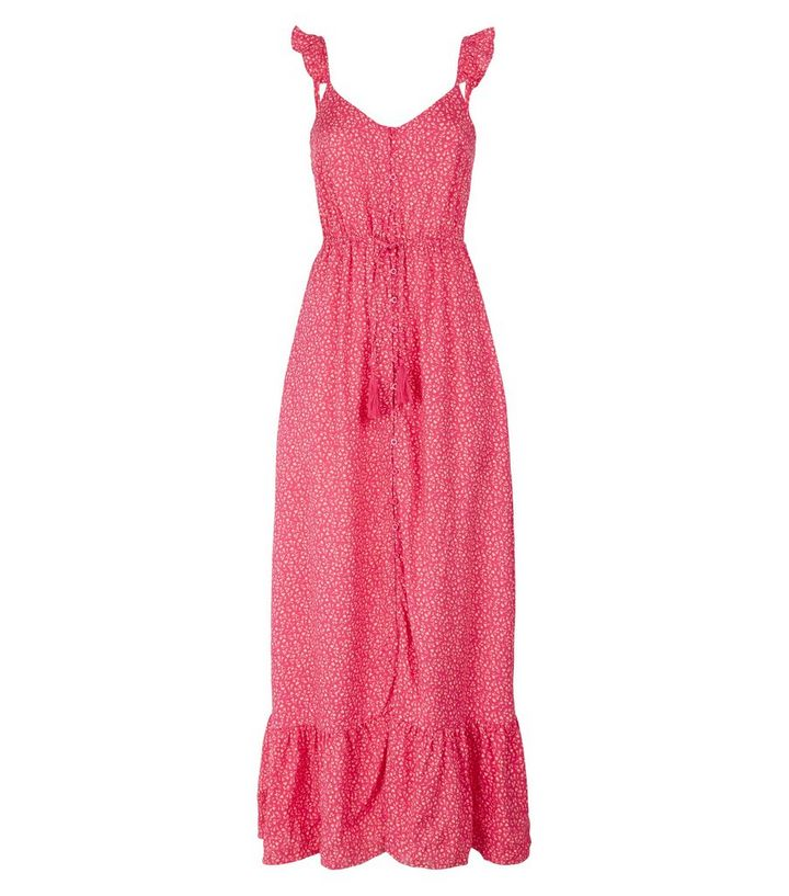 3c3ed73a02b4 ... Pink Floral Button Up Frill Maxi Dress. ×. ×. ×. Shop the look