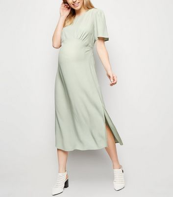 Maternity Mint Green Side Split Midi Dress
