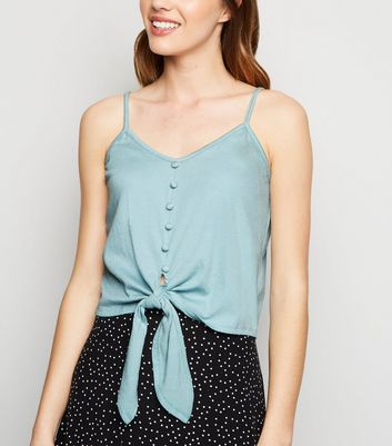 Mint Green Lightweight Button Front Tie Front Cami