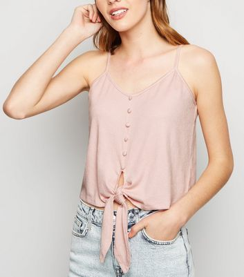 Pink Cheesecloth Button Tie Front Cami