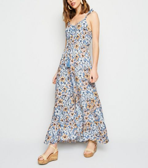 7293798635b ... Blue Tropical Floral Button Up Maxi Dress ...