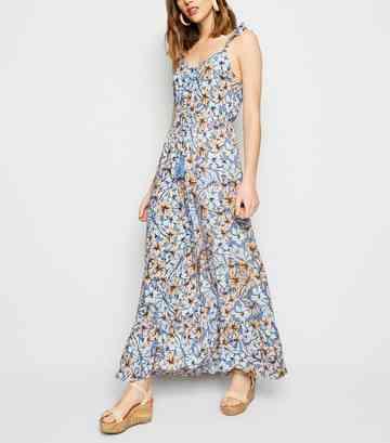 b8875d0599 Blue Tropical Floral Button Up Maxi Dress ...