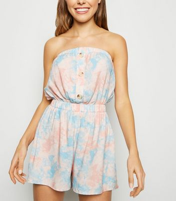 Blue Tie Dye Button Front Bandeau Playsuit