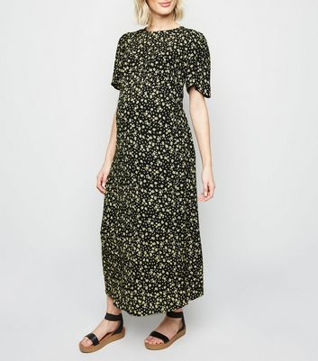 Maternity Black Ditsy Floral Split Side Midi Dress