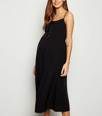 Maternity Black Lace Up Front Midi Dress