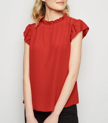 07cad70ca983d9 Red Frill Trim Blouse New Look