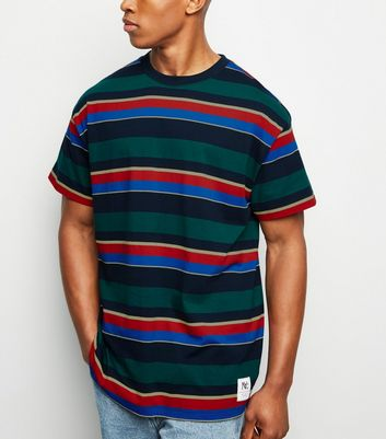 Dark Green Multi Stripe Oversized T-Shirt
