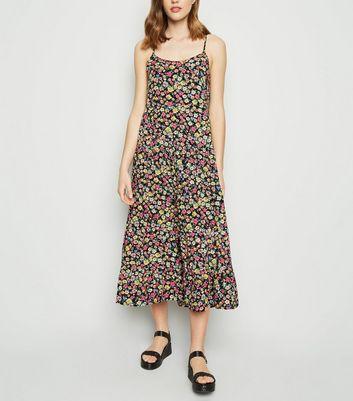 b6d9db81827 ... Black Floral Print Tiered Hem Midi Dress