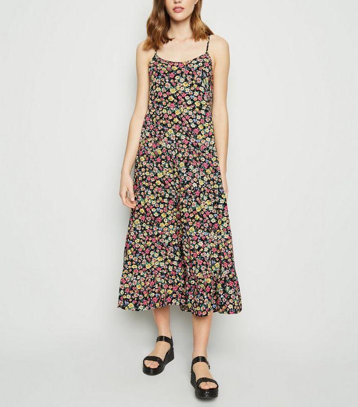 6e9cdf5dada Black Floral Print Tiered Hem Midi Dress