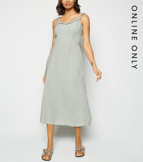 1ea1a1c9c5f ... Mint Green Ruffle Trim Midi Dress ...