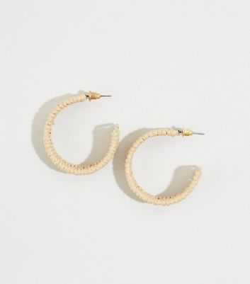 Cream Raffia Hoop Earrings
