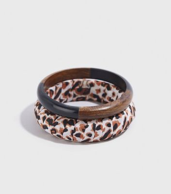 WANTED 2 Pack Brown Leopard Print Bangles