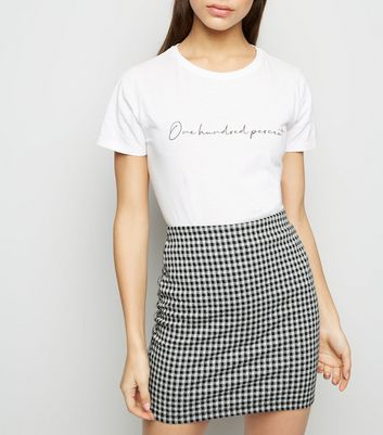 petite black gingham tube skirt new look