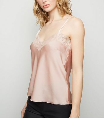 Cameo Rose Pale Pink Satin Lace Trim Cami