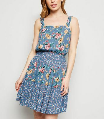 Petite Blue Floral Tiered Mini Dress