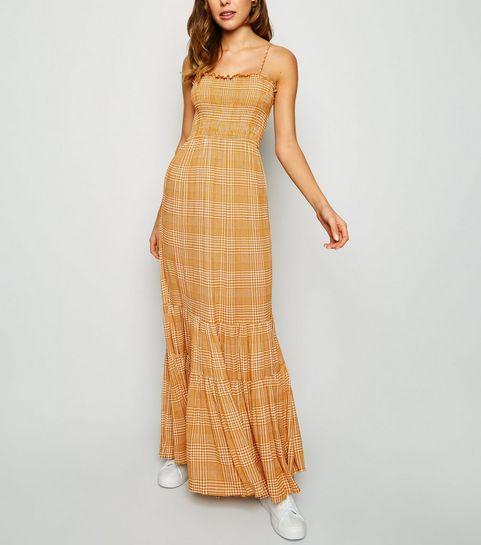 8033f5272b ... Orange Check Tiered Maxi Dress ...
