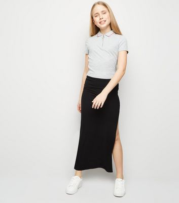 Girls Black Ribbed Side Split Maxi Skirt
