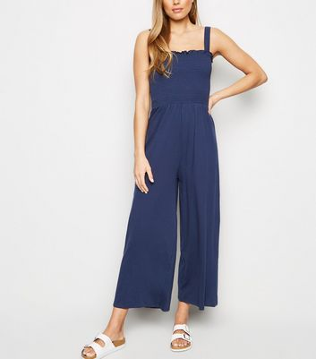 Tall Navy Shirred Strappy Jumpsuit