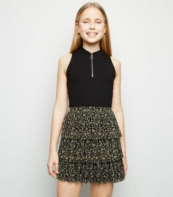 Girls Black  Floral Tiered Mesh Skirt