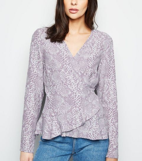 95ba61a734211d ... Purple Snake Print Wrap Top ...