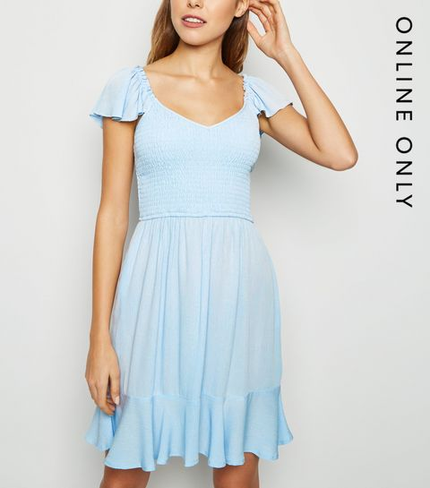 625aff18f16 ... Pale Blue Milkmaid Shirred Dress ...