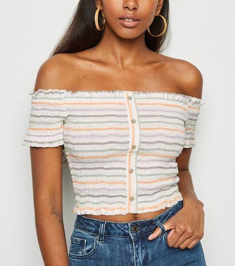 5ffb74df5f300 ... Multicoloured Stripe Shirred Linen Blend Bardot Top ...