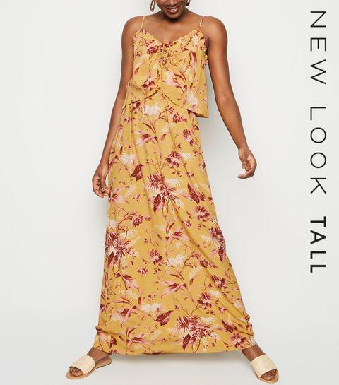 5bf2a4bb0c1 ... Tall Mustard Tropical Print Maxi Dress ...