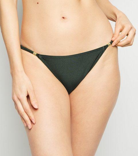734900f918cbd ... Khaki Bead Strappy Side Bikini Bottoms ...